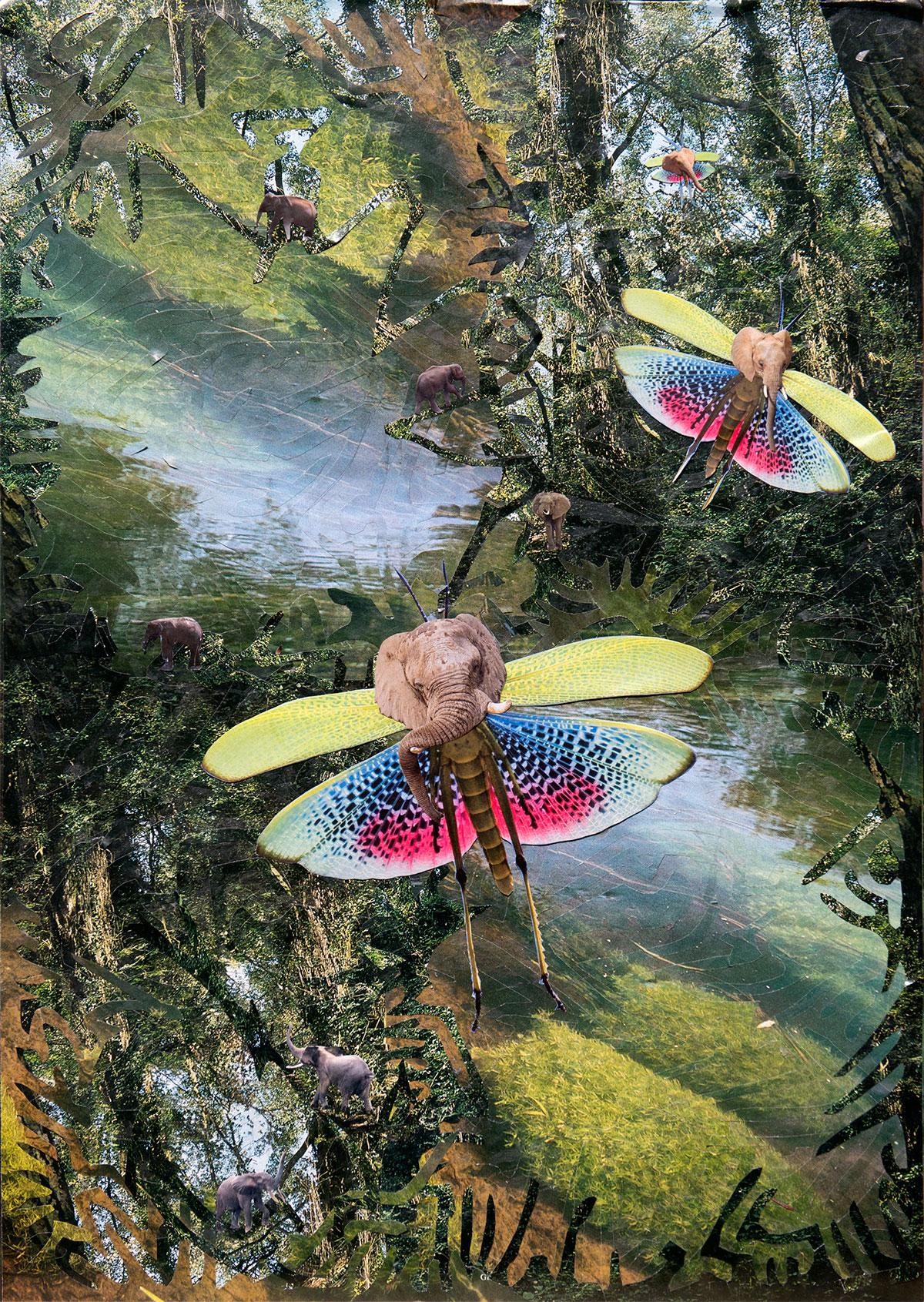 Papier Collage Elefantflyers